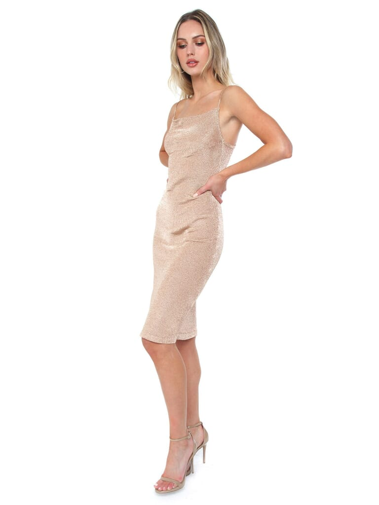 BARDOT Dani Lurex Knit Dress in Rose Gold