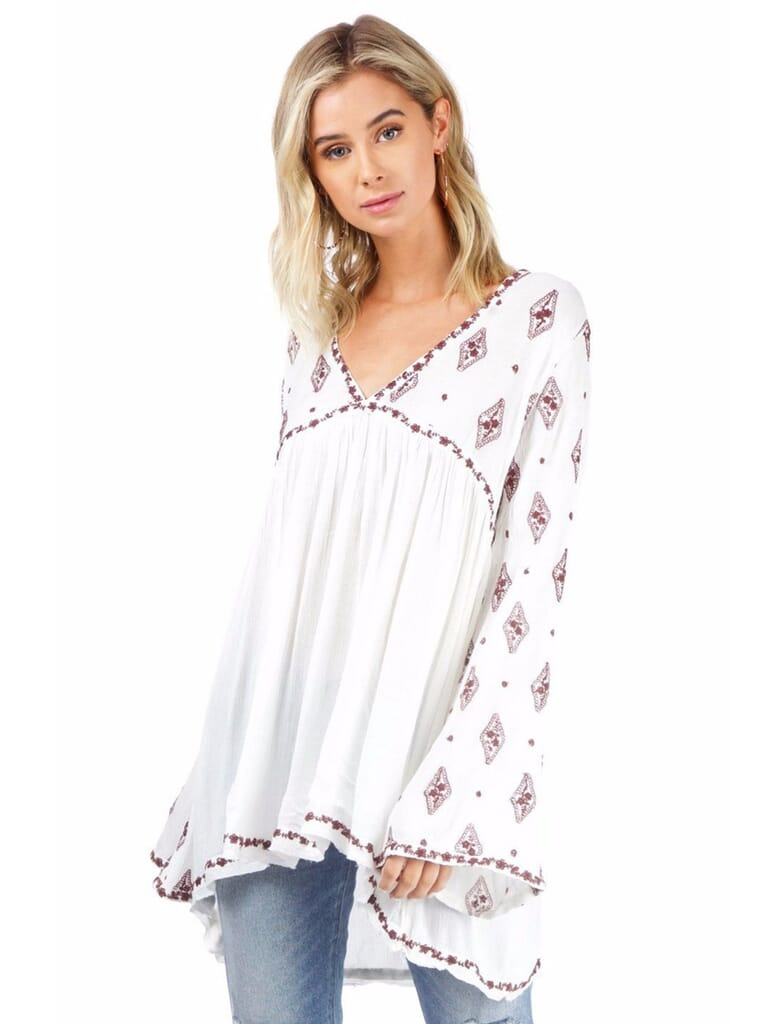 Free People Diamond Embroidered Top in Ivory