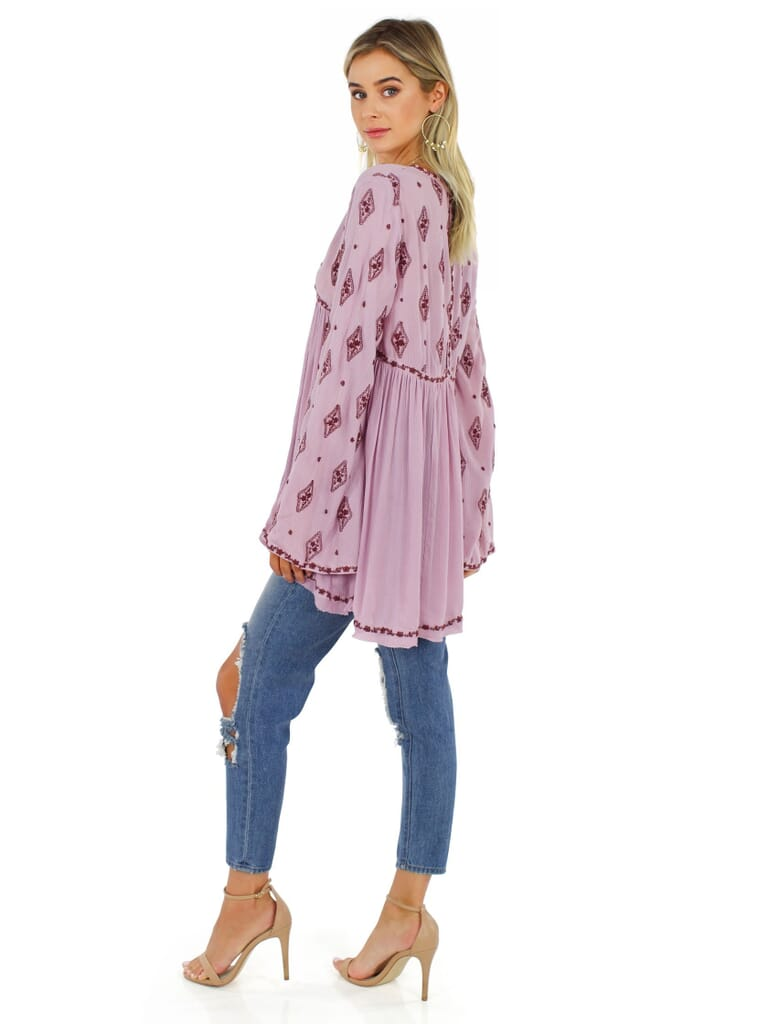 Free People Diamond Embroidered Top in Plum