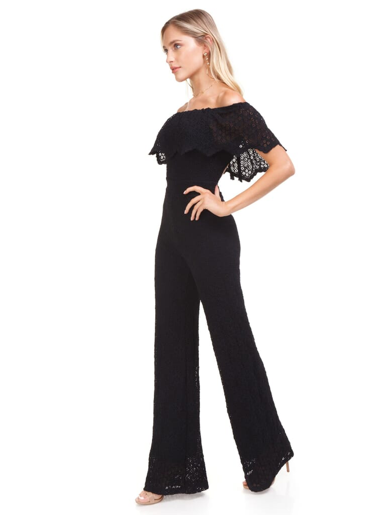 Nightcap Clothing Diamond Lace Positano Jumpsuit in Black