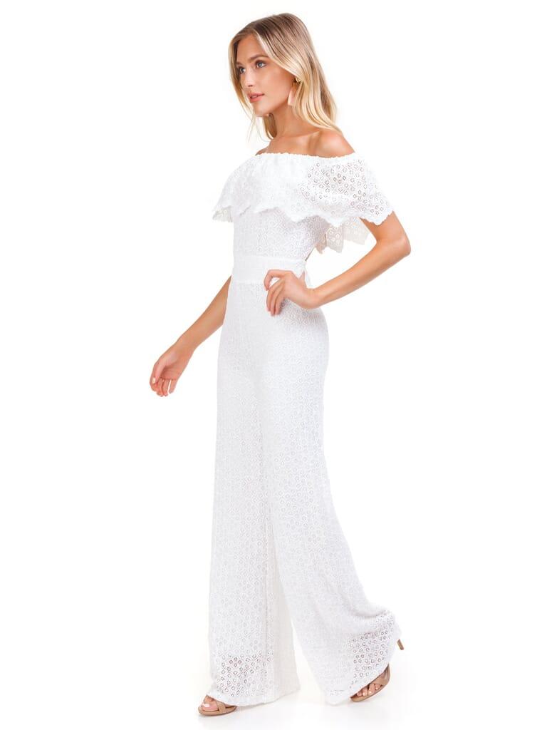 Nightcap Clothing Diamond Lace Positano Jumpsuit in Dove