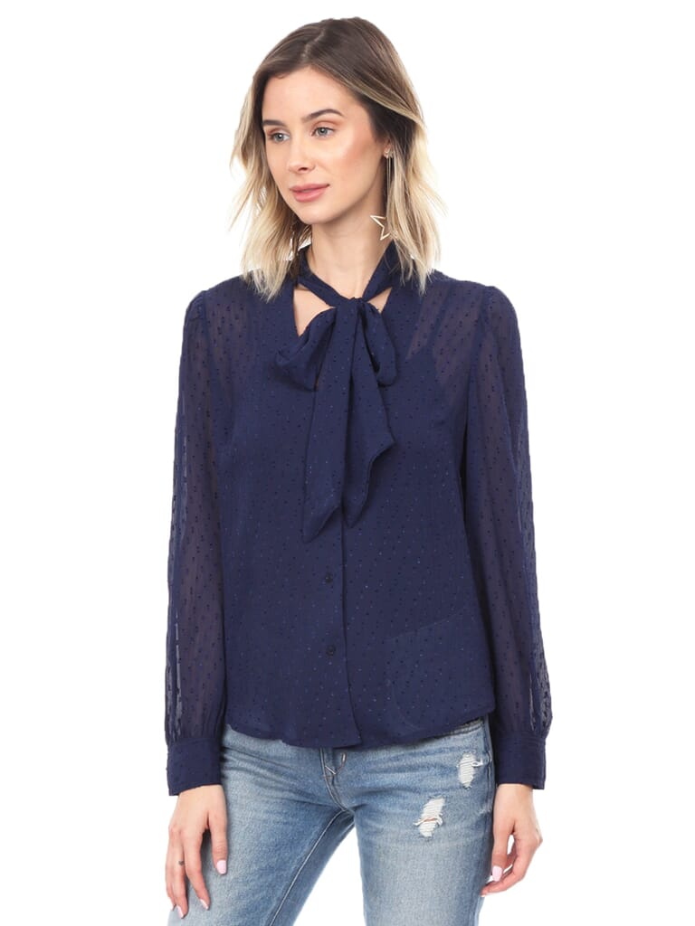 FashionPass Dottie Long Sleeve Blouse in Navy