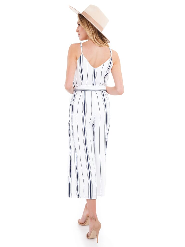 J.O.A. Double V Neck Cropped Jumpsuit in White/Navy