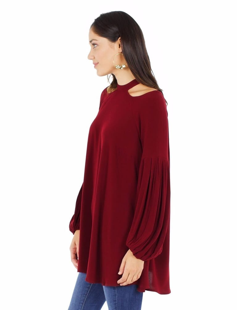 Free People Drift Away Cold Shoulder Tunic in Wine