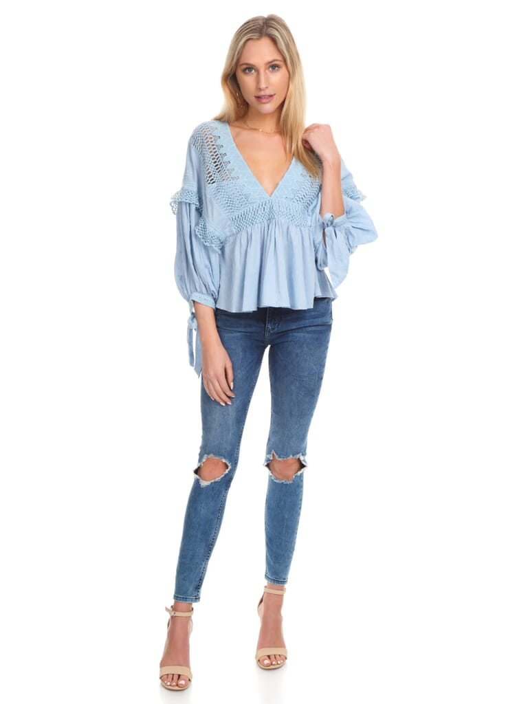 Free People Drive You Mad Blouse in Blue