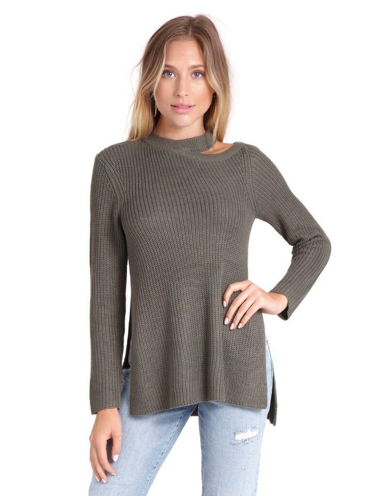 BB Dakota Dusk Til Dawn Sweater in Light Olive