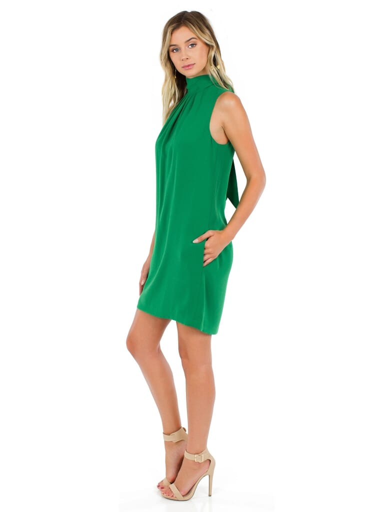 BCBGMAXAZRIA Elika Open Back Dress in Green