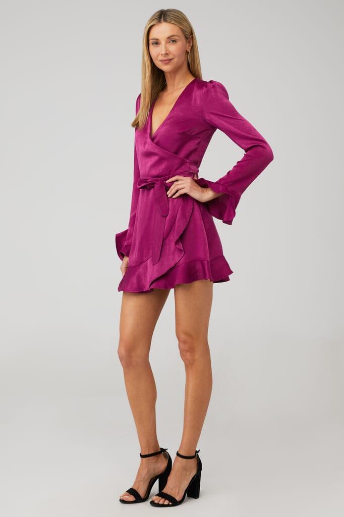 Donna Mizani Eliza Mini Wrap Dress in Cranberry