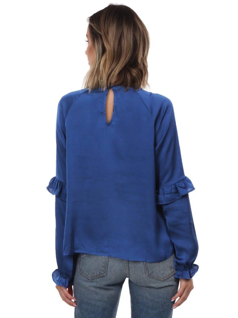 LOST + WANDER Elsa L/S Satin Top in Blue