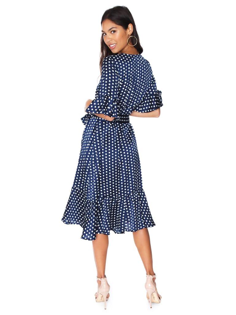 Line & Dot Elsie Ruffle Wrap Dress in Navy