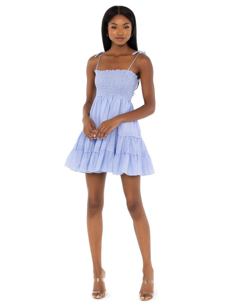 RAYS FOR DAYS Emma Mini Dress in Blue/White Stripe