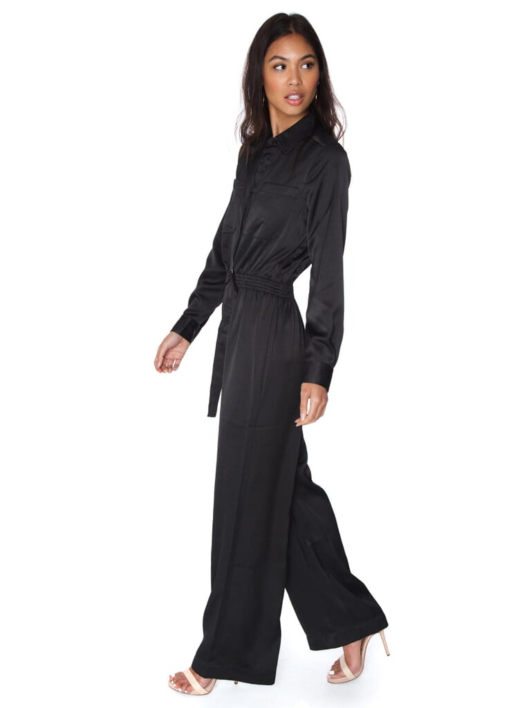 French Connection Enid Crepe Jumpsuit in Black