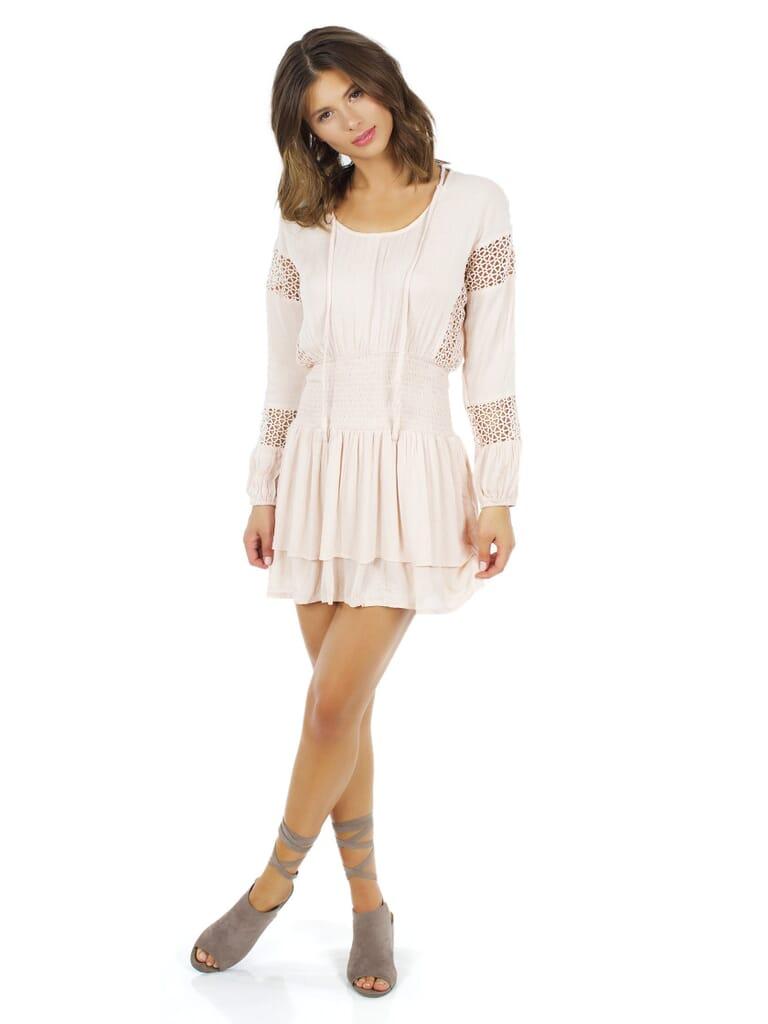 Lost In Lunar Escape Tunic Dress in Blush