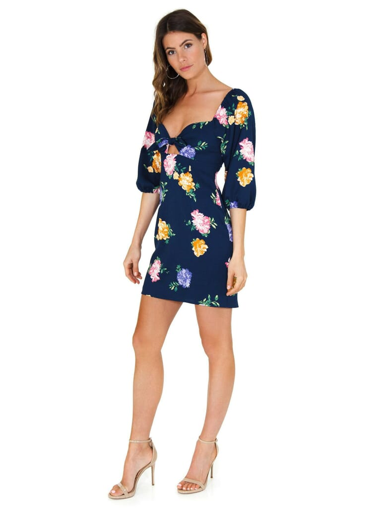 WAYF Eunice Knot Front Mini Dress in Navy Floral