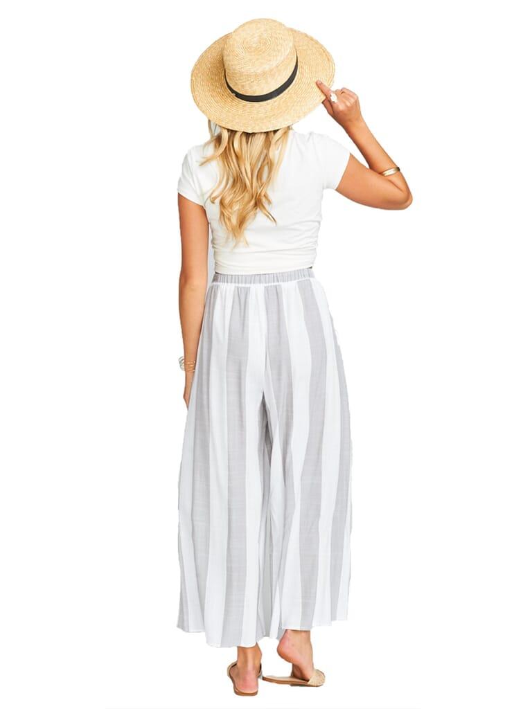 Show Me Your Mumu Explorer Pants in Grey Bengal Stripe Yarn Dye