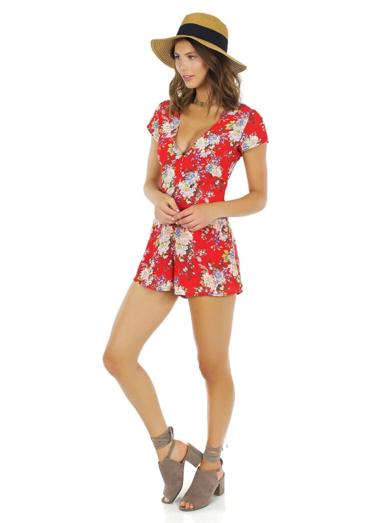 WYLDR Feel It All Playsuit in Red Floral
