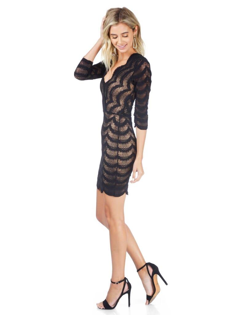 Nightcap Clothing Fiesta Fan Lace Deep V Dress in Black