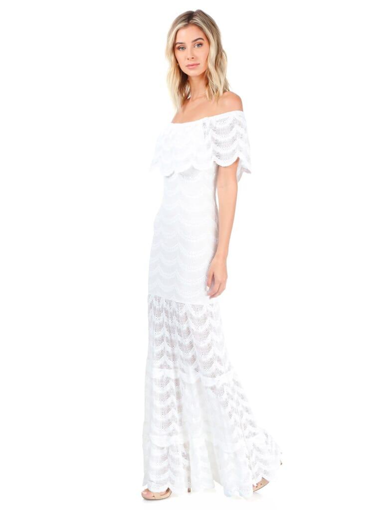 Nightcap Clothing Fiesta Fan Lace Positano Maxi in White