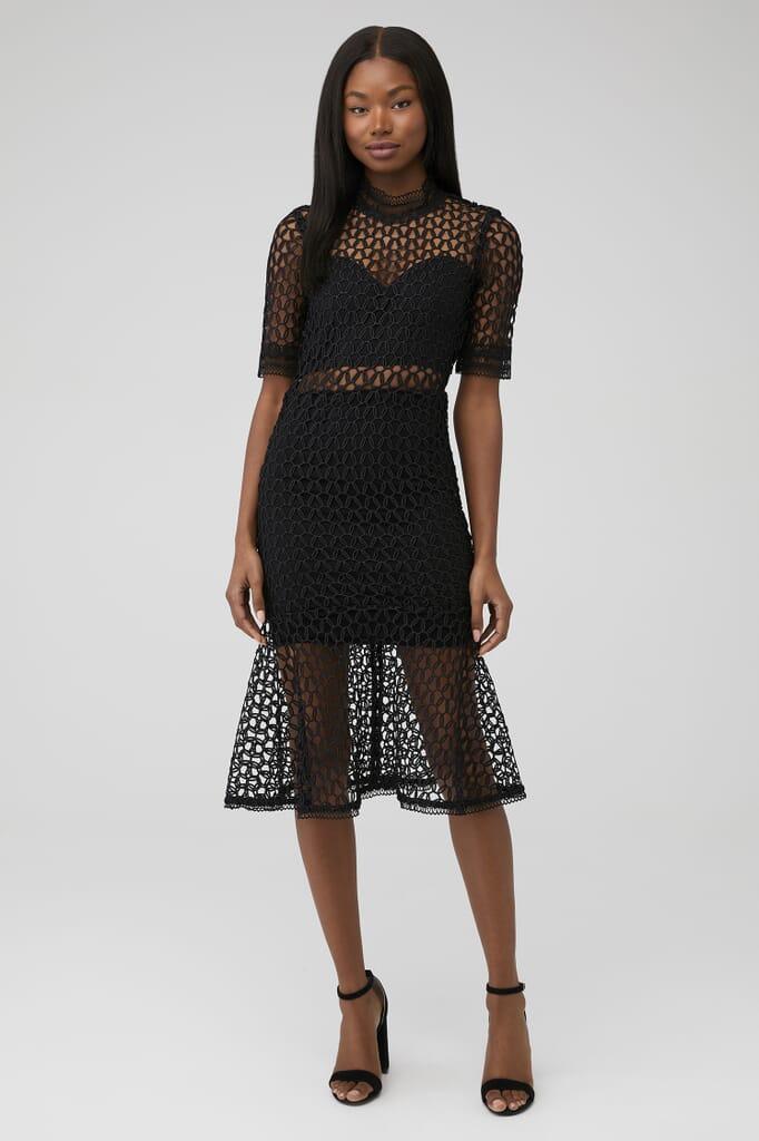 BARDOT Fiona Mesh Dress in Black
