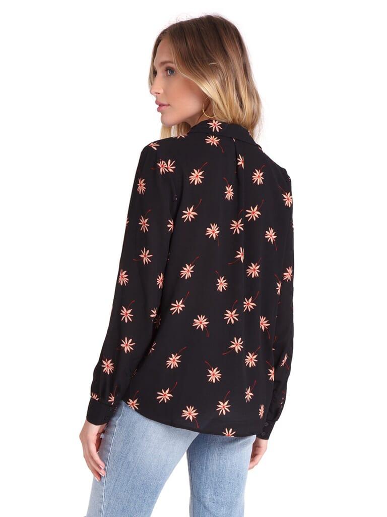 Lush Flora Button Front Blouse in Black/Blush