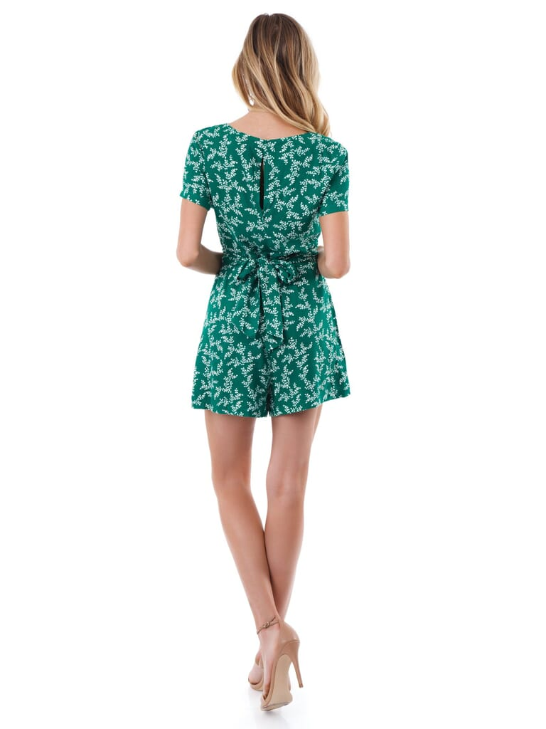 Lush Floral Printed Romper in Green Leaves