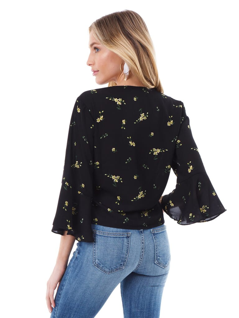 Lush Floral Tie Front Blouse in Black/Yellow