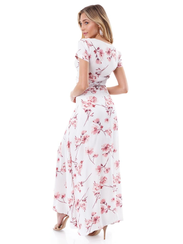 Cotton Candy Floral Two Piece Set in White/Pink