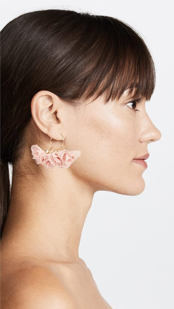 Shashi Flower Hoop Earrings in Blush/Gold