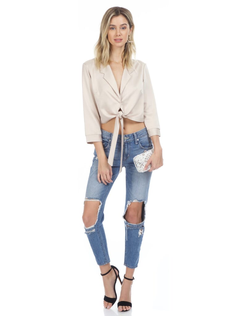 WYLDR Forever Lost Tie Front Blouse in Beige