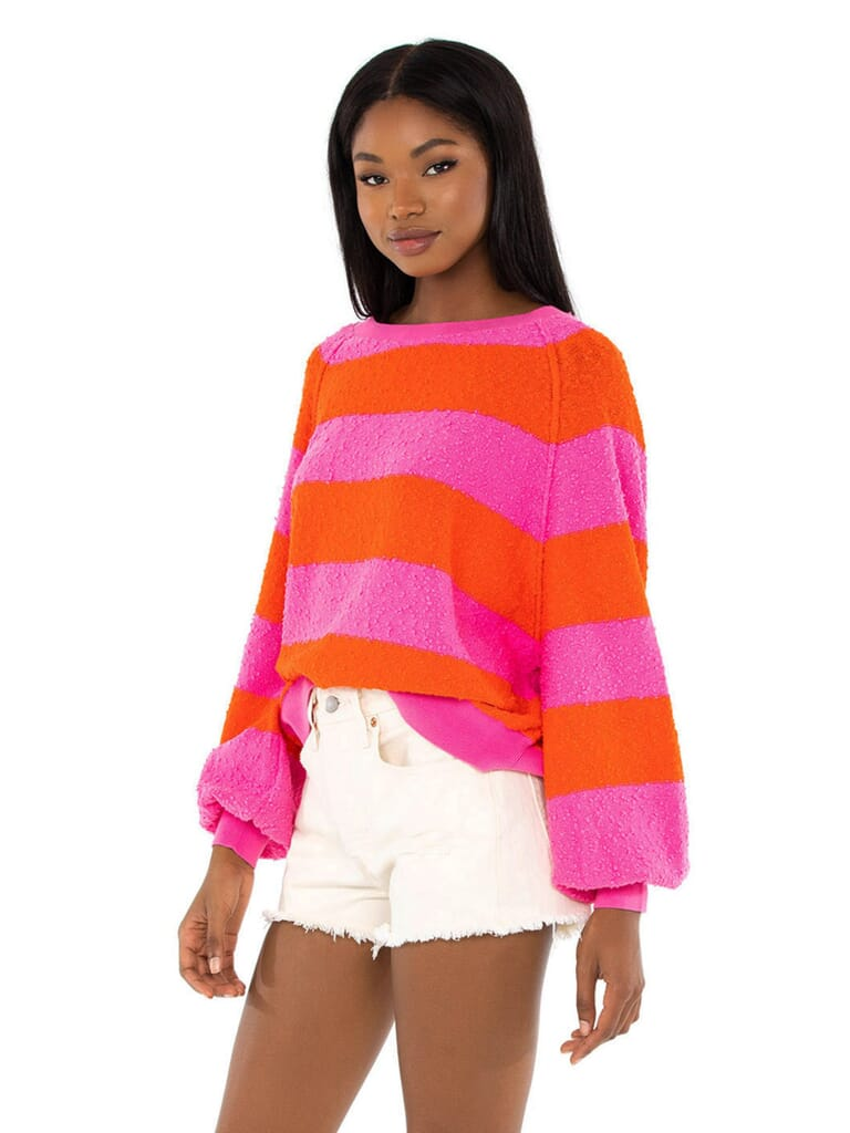 Free People Found My Friend Stripe Pullover in Be Mine Combo