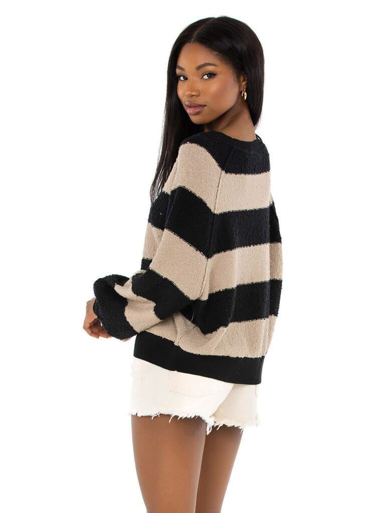 Free People Found My Friend Stripe Pullover in Black Combo
