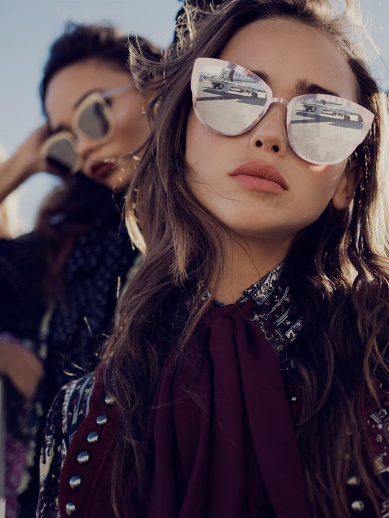 Quay Australia French Kiss 55mm Cat Eye Sunglasses in Clear/Rose Mirror