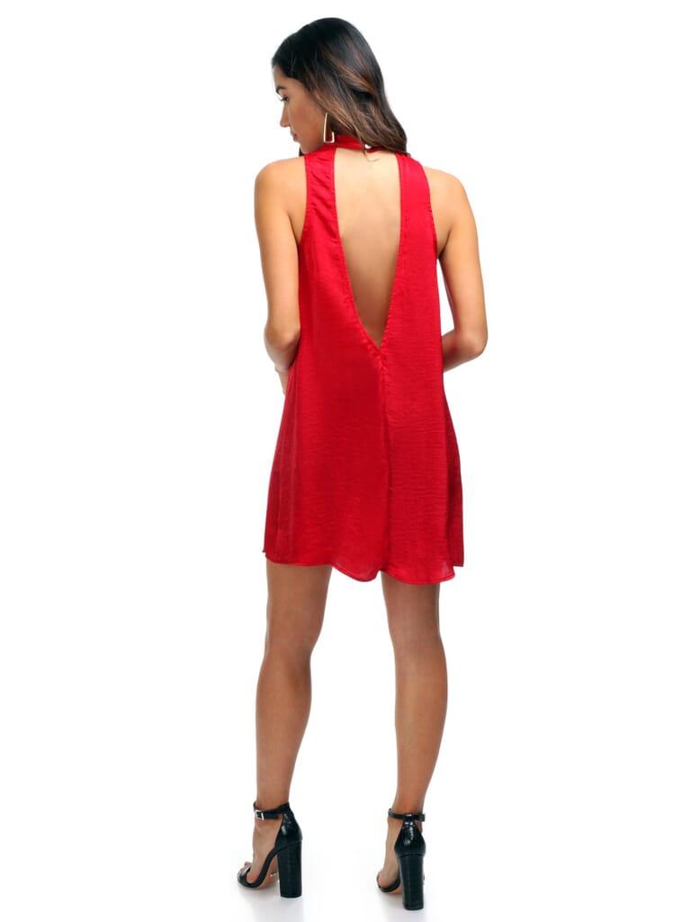 Show Me Your Mumu Friday Choker Dress in Cherry Berry Silky Satin