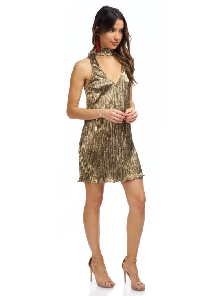 Show Me Your Mumu Friday Choker Dress in Good As Gold Pleat