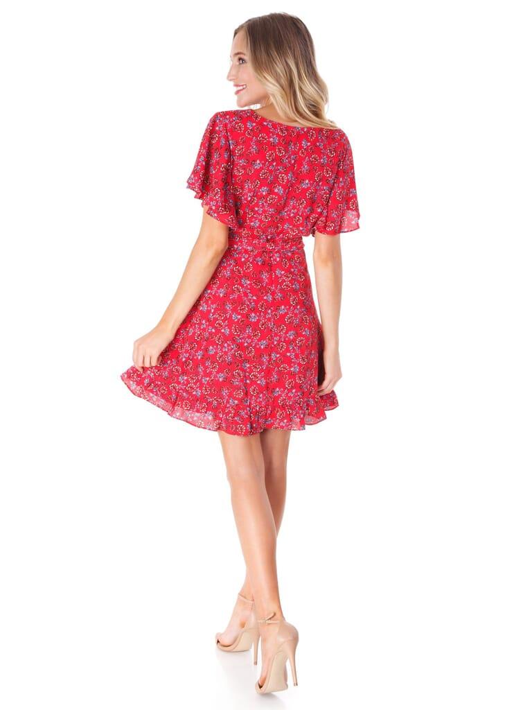 BB Dakota Friendly Fire Ruby Wrap Dress in Ruby