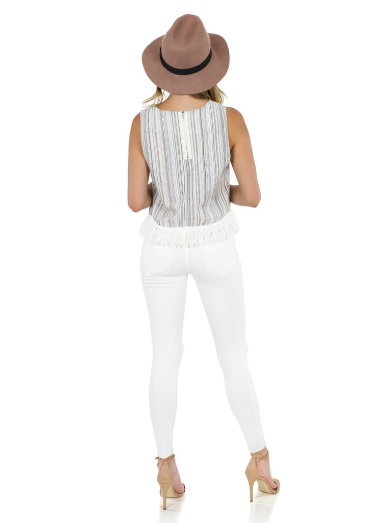 Lucca Couture Fringe Top in Stripe