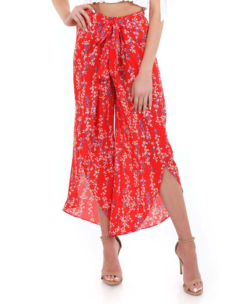 Moon River Front Wrap Pants in Red