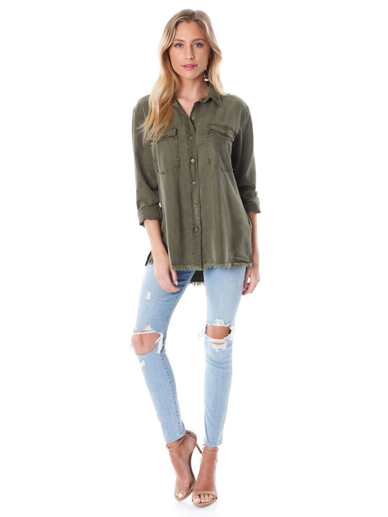 SANCTUARY Gibson Button Down Shirt in Cadet