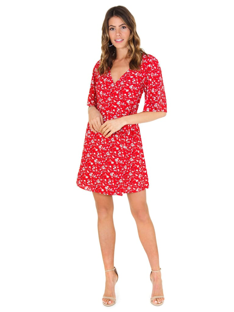 SANCTUARY Girl On Fire Faux Wrap Dress in Simply Red