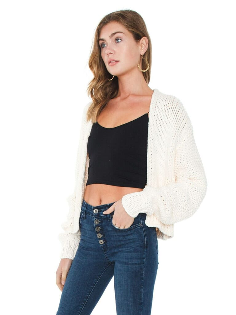 Free People Glow For It Cardi in Ivory Peach