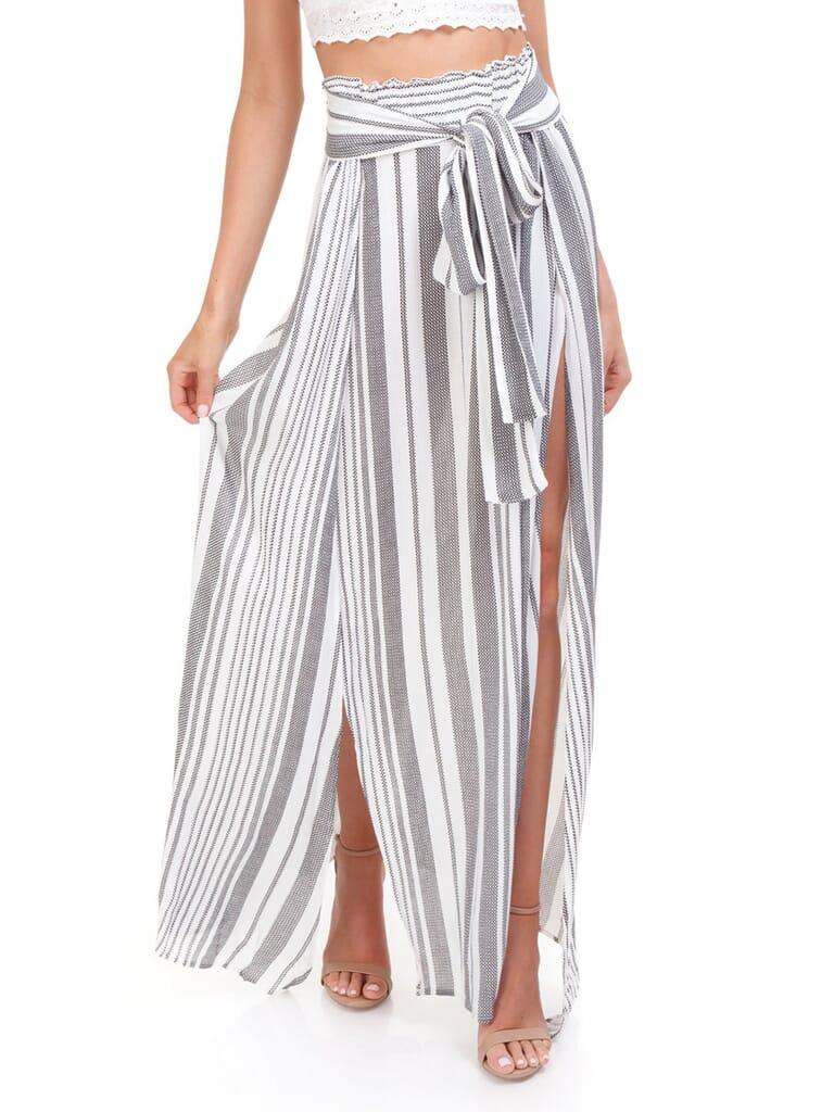 Blue Life Grace High Waisted Skirt in Boho Stripe