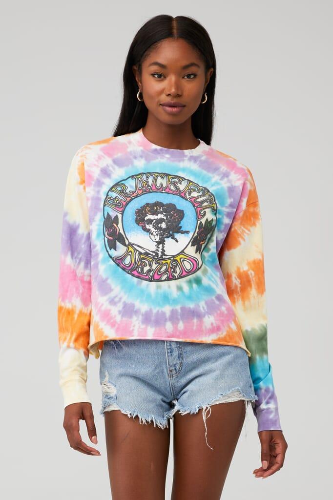 DAYDREAMER Grateful Dead Tie Dye Long Sleeve Crop in Rainbow Tie Dye