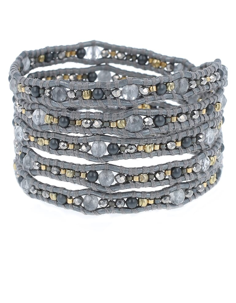 Chan Luu Grey Mix Wrap Bracelet in Grey Mix