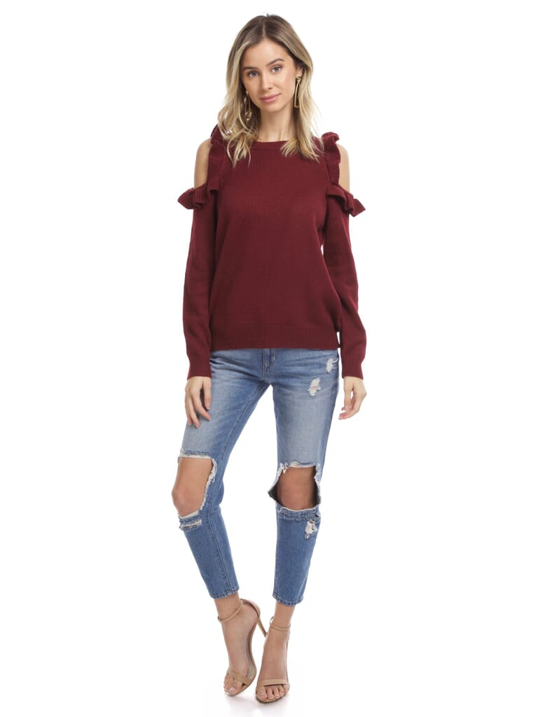 FashionPass Harmony Cold Shoulder Sweater in Wine