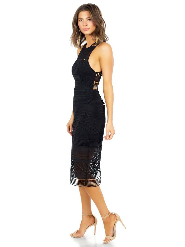 STYLESTALKER Harper Midi Dress in Noir