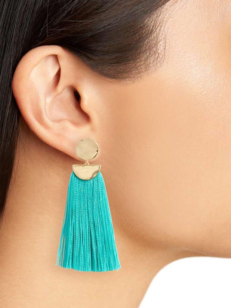 Gorjana Havana Circle Tassel Earrings in Bright Emerald/Gold