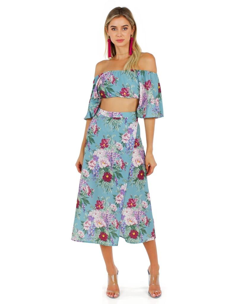 Show Me Your Mumu Heidi Ruffle Crop And Flirt Skirt in Darling Dolls
