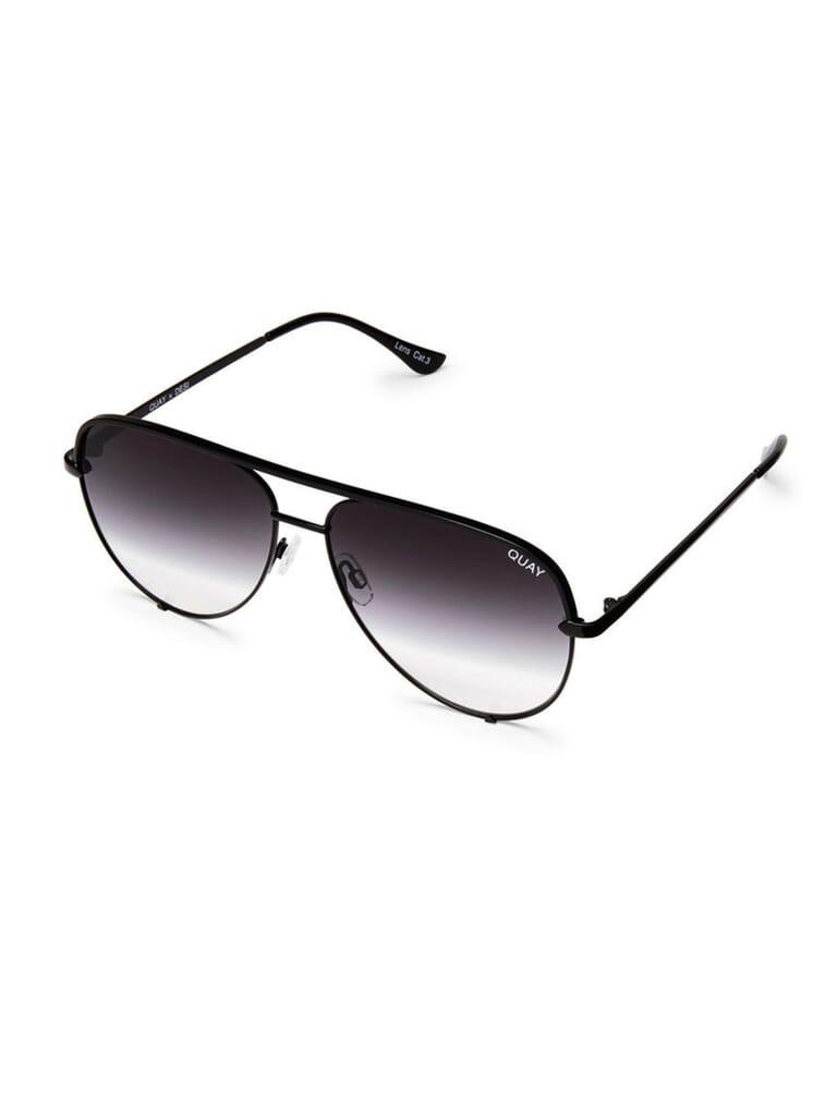 Quay Australia High Key Mini 57mm Aviator Sunglasses in Black/Fade