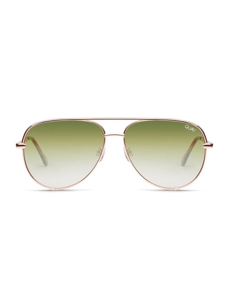 Quay Australia High Key Mini 57mm Aviator Sunglasses in Green/Gold