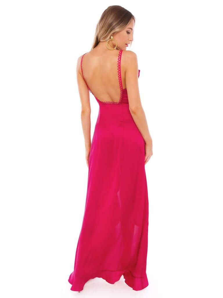 For Love & Lemons Isabella Ruffled Maxi Dress in Fuscia
